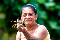 Woman showing Crab